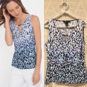 WHBM sleeveless blue w silver hw top